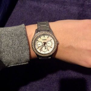 Fossil watch with mother of pearl face